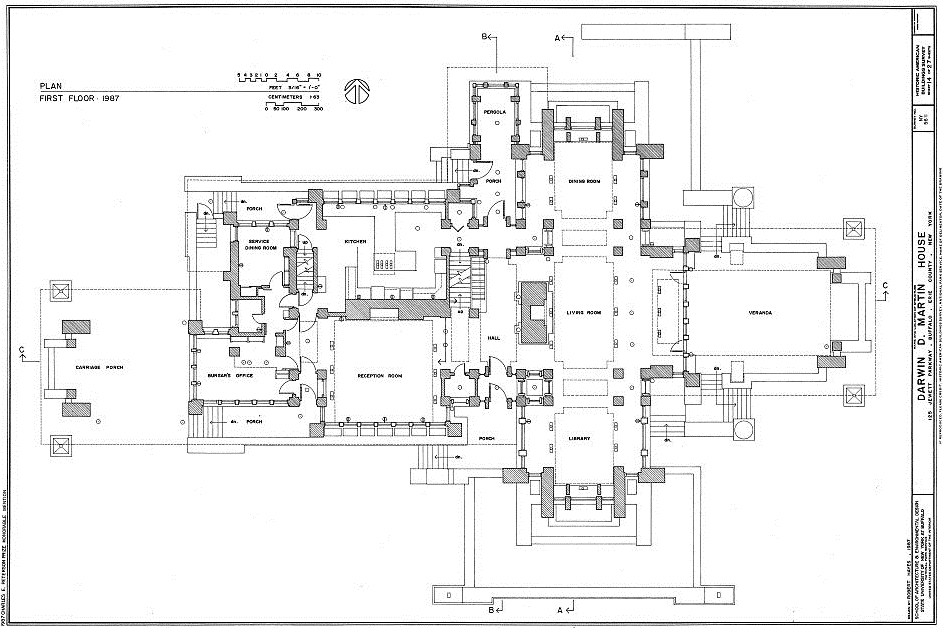 Frank lloyd wright s magnificent darwin martin house in for Frank lloyd wright floor plans