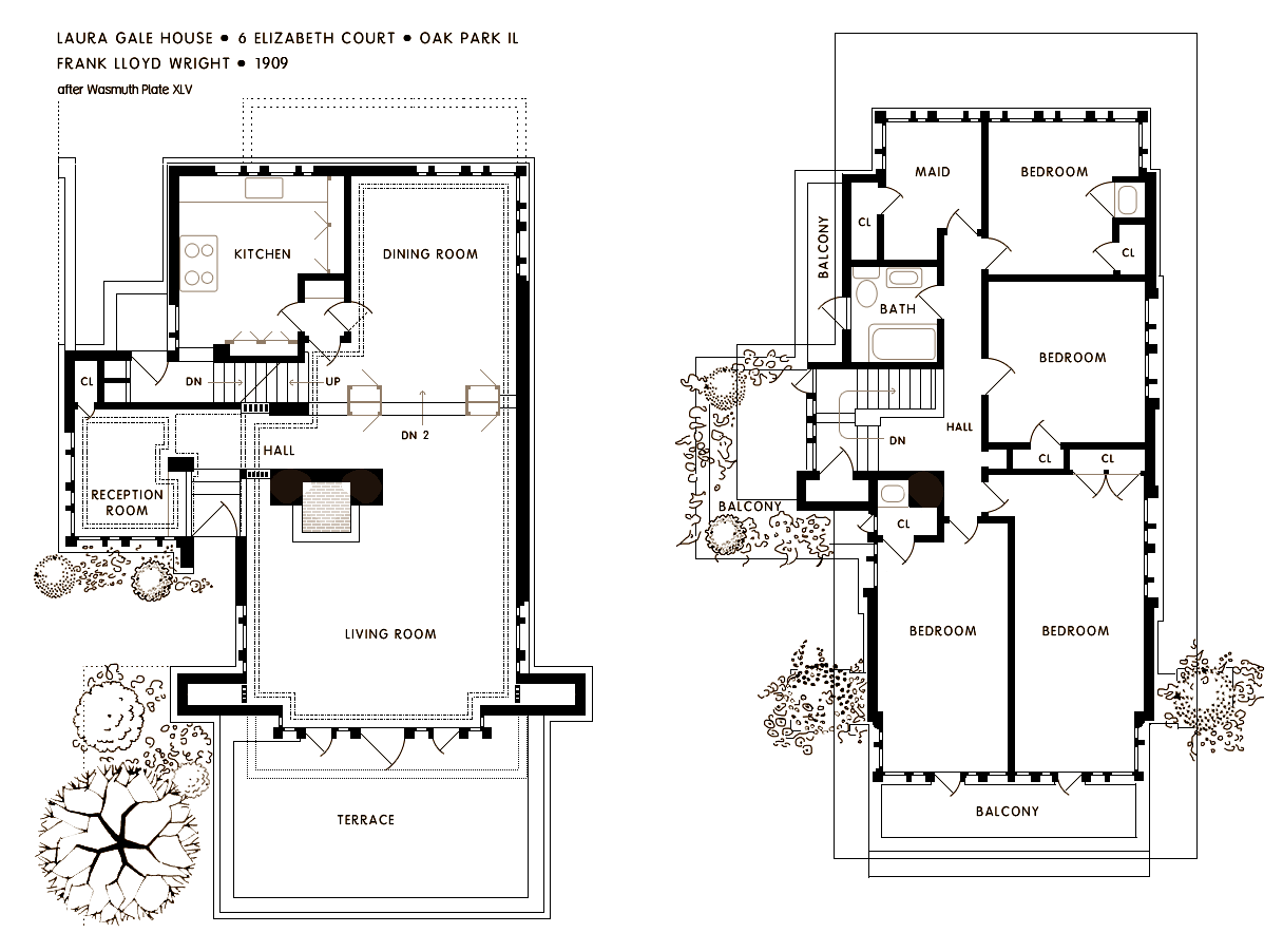 Frank lloyd wright s oak park illinois designs the for H and h homes floor plans