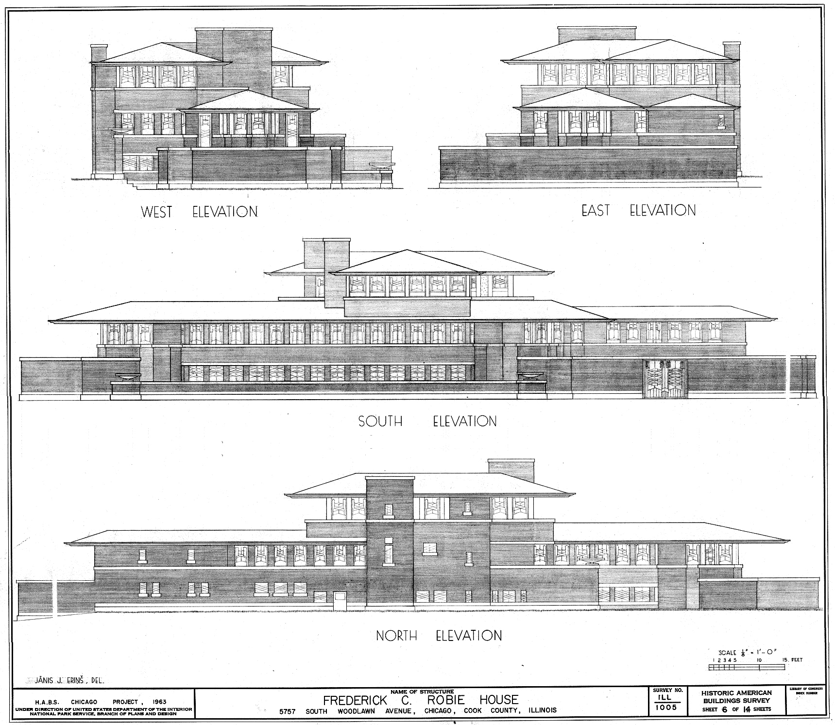 Frank lloyd wright s frederick c robie house a prairie for House plan dwg