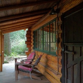 A Hand-Hewn Log Cabin in the Foothills of Oregon's Mount Hood