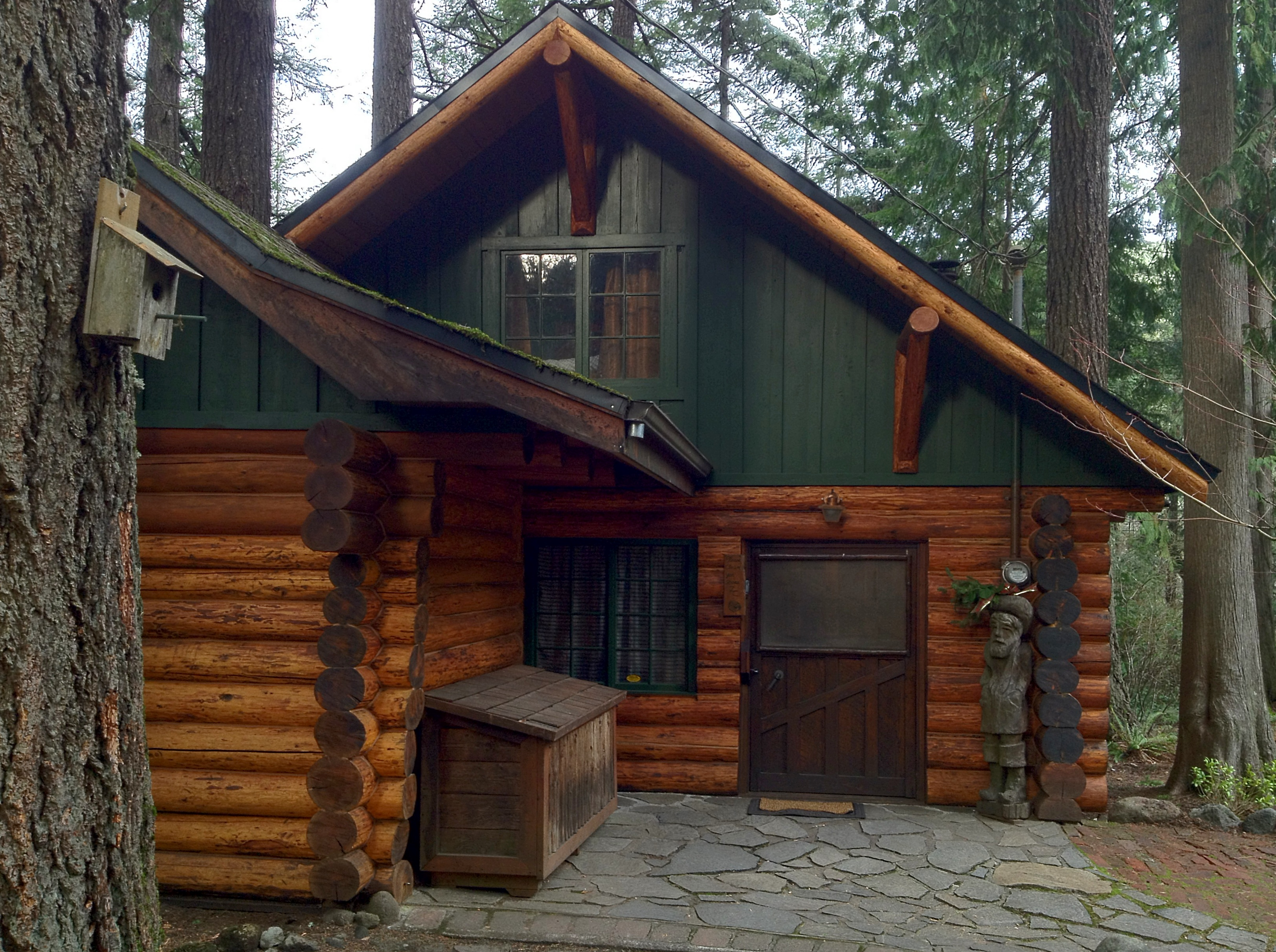 A hand hewn log cabin in the foothills of oregon s mount for Hewn log cabin kits